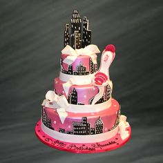 a Sex and the City birthday cake! @Lacey Butler we need this for your bday! / my BZ is the best!! @maranda Jones