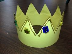 Prince or King crown craft with glitter and gems.  Great for fairy tale unit or dramatic play.