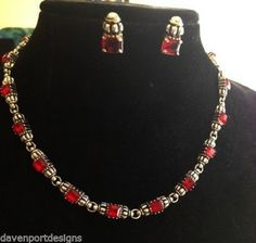 Red Stones Necklace Red Glass Earrings Set Jewelry Christmas Valentine Holiday #DavenportDesigns