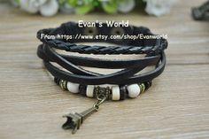 Retro Leather BangleBlack Lucky Charm Bangle Man's by Evanworld, $5.99 Beautiful handmade bracelet, a gift.