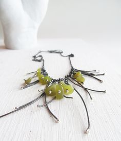 sterling silver bib statement necklace oxidized silver by lolide