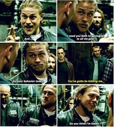 Jax Teller ( Charlie Hunnam) Aww Jax your so sweet. To the guys haha. Anarchy Quotes, Sons Of Anarchy Motorcycles, Sons Of Anarchy Samcro, Netflix, Charlie Hunnam Soa, Prince, Jax Teller, Raining Men, Andrew Lincoln