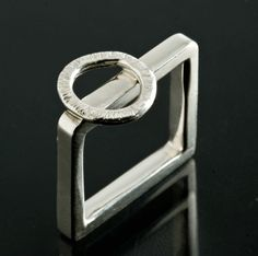Sterling Circle on Square Ring by JenLawlerDesigns on Etsy, $130.00