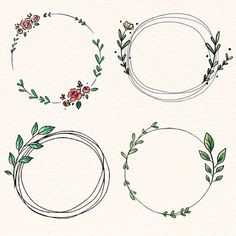 Download premium vector of Doodle floral wreath vector collection 843865