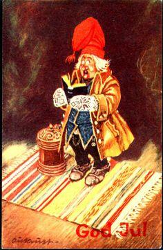 Kjell Aukrust.(1920-2002) Norway.  Postcard postmarked 1951