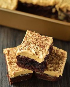 Peanut butter brownies. Luscious layers of chocolate and peanut butter. A cinch to make!