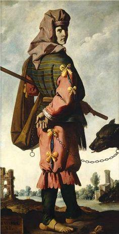 """Francisco de Zurbarán  Benjamin , ca. 1640-1645  """"Benjamín es un lobo rapaz; En la mañana comerá la presa, ya la tarde repartirá los despojos. """" (Génesis 49:27). Benjamin fue el último hijo de los doce hijos de Jacob, y el segundo y último hijo de Rachel en la tradición judía, cristiana e islámica. Él era el progenitor de la tribu israelita de Benjamín. En el Corán, Benjamin se refiere a los niños pequeños como justos, que se quedó con Jacob cuando los hermanos mayores conspiraron contra…"""