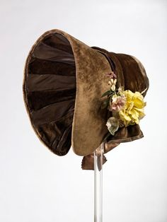 Bonnet, designer unknown  Bonnet Designer unknown About 1845 Great Britain Albert Museum, Historical Clothing, Antique Clothing, Historical Costume, Victorian Costume, Victorian Hats, Vintage Hats, Vintage Outfits, Victorian Fashion
