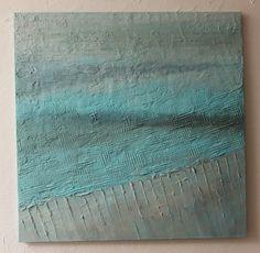 Obraz w błękitach - ocean - malarstwo abstrakcyjne - obrazy strukturalne by Sylwia Michalska