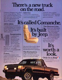 Vintage Jeep Comanche pickup trucks from the - Click Americana Jeep Xj, Jeep Pickup, Jeep Cars, Jeep Truck, Pickup Trucks, Pickup Camper, Vintage Jeep, Vintage Ads, Comanche Jeep