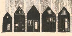 Linolschnitt, Druck auf Zeitungspapier, Basteln mit Kindern