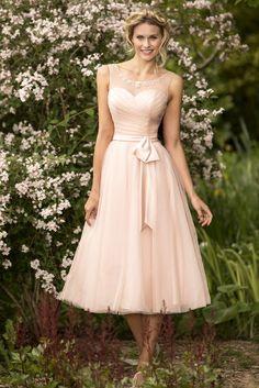 a-line/princess scoop neckline lace pink tulle tea length bridesmaid dress
