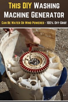DIY washing machine generator that can generate electricity via either wind or running water! Wind Power Generator, Diy Generator, Survival Tips, Survival Skills, Old Washing Machine, Renewable Energy, Solar Energy, Solar Power, Energy Projects