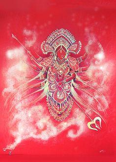 illustrations on Behance Happy Navratri Wishes, Happy Navratri Images, Maa Durga Image, Durga Maa, Goddess Art, Durga Goddess, Happy Diwali Wallpapers, Durga Painting, Durga Images