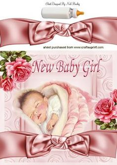 PRETTY IN PINK BABY GIRL WITH ROSES 8X8 on Craftsuprint - Add To Basket!
