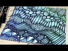 Easy Doodle Patterns with Paint Markers on Painted Paper Zentangle Drawings, Doodle Drawings, Easy Drawings, Zentangles, Pencil Drawings, Paint Pens, Paint Markers, Brush Markers, Doodle Patterns