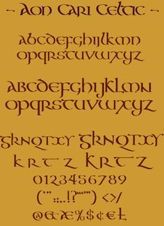 The Aon Celtic Art website features the artistic works of international artist Cari Buziak, including a gallery of works, free tutorials and clipart. Hand Lettering Fonts, Lettering Styles, Handwriting Fonts, Penmanship, Typography Fonts, Brush Lettering, Lettering Design, Celtic Fonts, Celtic Art
