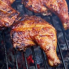 Kickin' Grilled Chicken Legs - Simplicity is Perfection ~ Super easy, super quick and lip-smacking delicious, kickin' grilled chicken legs. It takes only 5 minutes to prepare and 30 minutes to cook. Grilled Chicken Leg Quarters, Grilled Chicken Legs, Bbq Chicken Legs, Chicken Leg Recipes, Grilled Meat, Smoked Chicken Quarters, Chicken Wings, Chicken Quarter Recipes, Perfect Grilled Chicken