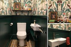 We see more and more daring, colorful small bathroom interiors, and we love it. In this post, we share some excellent examples of how wallpapers can make a simple transformation in any small bathroom. Small Bathroom Interior, Stores, Bathroom Inspiration, Decorating Your Home, Wall Murals, Toilet, Create, Home Decor, City Bathroom Inspiration