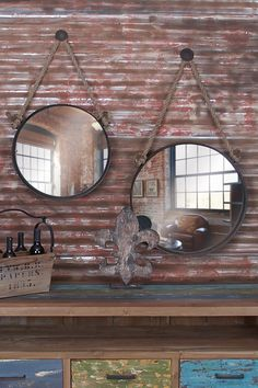 Brown Rope Hanging Circle Mirrors - Set of 2 by UMA on @HauteLook