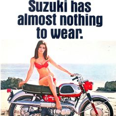 vintage everyday: Groovy Chicks on Vintage Motorbike Ads: 26 Fascinating Scooter and Motorcycle Adverts from the Vintage Bikes, Vintage Motorcycles, Vintage Ads, Suzuki Bikes, Suzuki Motorcycle, Bultaco Motorcycles, Lady Biker, Biker Girl, Ducati