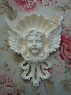 Large Cherub Head Wings Crown Architectural Pediment