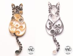 Two New Quilled Scrollwork Cats