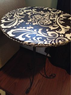 So I am going to do this with a table that was just given to me. Cover old tables with fabric and use mod podge to seal. With all the moving and children distressing the furniture. I might cover everything in fabric and mod podge! Furniture Projects, Furniture Making, Furniture Makeover, Home Projects, Diy Furniture, Repurposed Furniture, Painted Furniture, Old Tables, Do It Yourself Organization