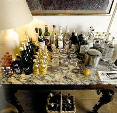Bar table set for party.