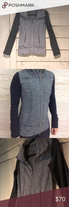 Lululemon Daily Yoga Jacket in Coco Pique This great Jacket has a black/gray pattern combo called coco pique and is long sleeved. It is very stretchy and made of the luon material. It has zipper pockets and zips up the front as well. lululemon athletica Jackets & Coats