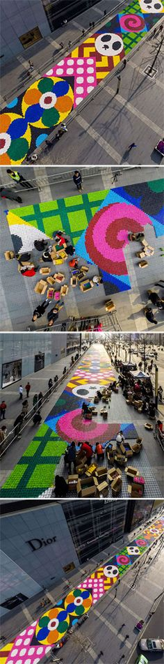 Artists Craig Redman and Karl Maier have covered an entire street with a multicolored 14000 square feet candy corridor, in the Chinese city of Chengdu.