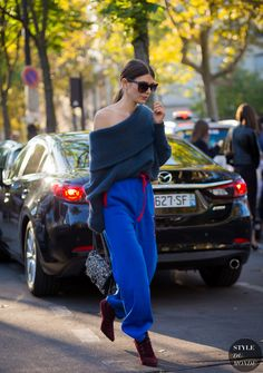 Off The Shoulder | Ursina Gysi after Rochas fashion show. | Street Style | PFW SS 2016 | Source: STYLEDUMONDE