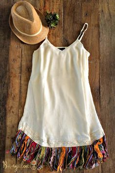 Serape Fringe Dress - Off-White