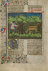 ARCHERY. An Archer Shooting at Deer, French, about 1430-40