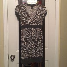 Sweater dress Grey zebra print sweater dress. Lightweight, short sleeve. Very cute, worn once Rue 21 Dresses