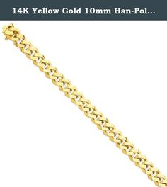 """14K Yellow Gold 10mm Han-Polished Fancy Link Bracelet or Anklet -9"""" (9in x 10mm). 14K Yellow Gold 10mm Han-Polished Fancy Link Bracelet or Anklet -9"""" (9in x 10mm) Product Type: Jewelry Jewelry Type: Bracelets Chain Type: Link, Other Bracelet Type: Men's Material: Primary: Gold Material: Primary - Color: Yellow Material: Primary - Purity: 14K Sold By Unit: Each Chain Length: 9 in Chain Width: 10 mm ."""