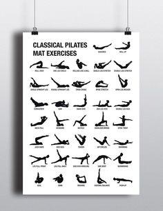 PILATES POSTER Digital DOWNLOAD,  Pilates Art Downloadable,  Pilates Workout Chart,  Pilates Studio