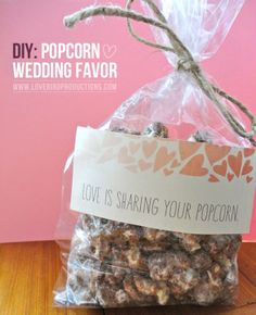 {DIY} Popcorn Wedding Favor because love is sharing your popcorn.