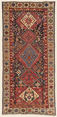 "Antique Late 19th Century Connoisseur-Caliber Southwest Persian Qashqai Kashkuli Rug 3' 7"" x 7' 8""- Claremont Rug Company"