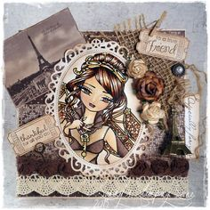 Card created by LLC DT Member Sandra Mathis, using papers from three different Maja Design collections and an image from Crafts & Me.