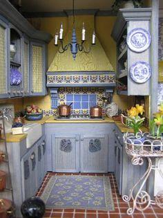 Rustikale Küchen Holz Landhausstil Blau Gelb