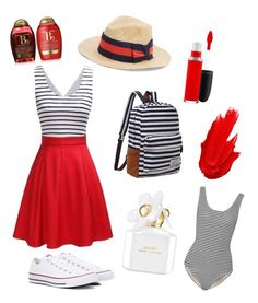 Summer Outfit // Stripes And Red by peltomakipauliina on Polyvore featuring polyvore, fashion, style, Tart, Converse, Saks Fifth Avenue, Maybelline, MAC Cosmetics, Marc Jacobs, Organix and clothing