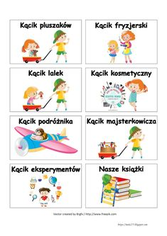 BLOG EDUKACYJNY DLA DZIECI: WIZYTÓWKI DO KĄCIKÓW - PRZEDSZKOLE Kids And Parenting, Baby Room, Kindergarten, Preschool, Teacher, How To Plan, Education, Puzzles, Speech Language Therapy