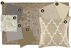 Traditional: A traditional rug doesn't have to define your space. Add in updated prints and colors pulled from the rug for a wonderful eclectic look. 1.) Carlson Rug 2.) Claire Gray 3.) Felicity Spa 4.) Lorenzo Charcoal 5.) Bark Twill 6.) Danish Linen Oatmeal 7.) Natural Microfiber, Bark Twill, Indochine Stone