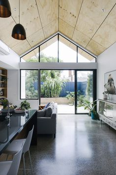 Collingwood project by PRAC Design Plywood Ceiling, Plywood Walls, Timber Ceiling, Interior Modern, Interior Architecture, Steel Doors And Windows, Plywood Interior, Home Building Design, Timber Cladding