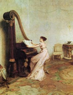 'Music when soft voices die, vibrates in the memory' (Shelley) by Sir William Quiller Orchardson (Scottish painter, 1832-1910)