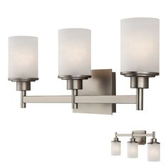 Canarm IVL408A03BN Lyndi 3 Globe Bath Vanity Light Bar Fixture, Brushed Nickel – Vanity Lights – Residential Lighting - GreyDock.com