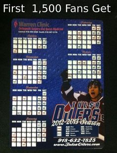 On Friday night the Oilers take on the Quad City Mallards at 7:35pm, the first 1,500 fans through the doors will receive free schedule magnets courtesy of Warren Clinic Orthopedic Surgery and Sports Medicine. http://www.tulsaoilers.com/news/tulsa-oilers-hockey-is-back-at-the-bok-center-this-weekend/