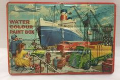 Large Vintage Tin Water Colour Paint Box Litho Ship Yard Scene Page London Ship in Harbor Made in England Painting For Kids, Artist Painting, Watercolour Painting, Watercolors, Industrial Nursery Decor, Royal Colors, Colours, Royal Blue, Painted Boxes