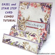 Scrap and Craft: Combination Easel and Stair Step Card Tutorial with Einat Einat here with a new project to inspire you! Today I want to share with you a fun Combination Easel and.Home - Einat Kessler Fun Fold Cards, Pop Up Cards, Cool Cards, Folded Cards, Card Making Tutorials, Making Ideas, Making Cards, Side Step Card, Stepper Cards
